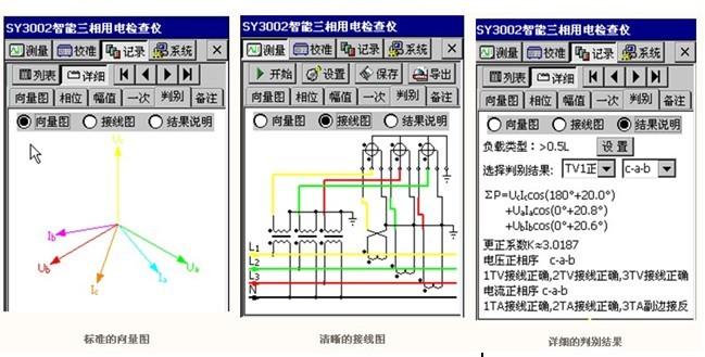五、用途 该仪器主要用于电能计量部门对电能表接线进行检测和判定的新一代智能化仪表,也广泛适用于电气设备制造、石油化工、钢铁冶金、铁路电气化、科研教学等部门,具有以下用途: 1)检测继电保护各组CT之间相位关系; 2)检查电度表接线正确与否; 3)判断电度表运行快慢,合理收缴电费; 4)感性和容性电路的判别; 5)检查变压器接线组别; 6)电气设备生产中对电流电压相位的测量; 7)由于精度高,可以测量漏电流及零序电流等。 六、 外形尺寸、重量 1)主 机: 230×125×43mm
